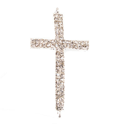 Silver-tone Cross Rhinestone East-West Connector Finding, 43x14mm, 1 piece
