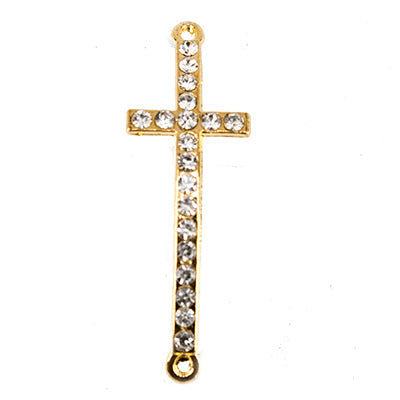 Gold-tone Cross Rhinestone East-West Connector Finding, 43x14mm, 1 piece