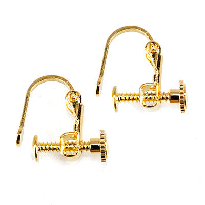 Gold-tone Screwback Earring Finding, 14mm length, 2 pieces