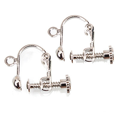Silver-tone Screwback Earring Finding, 14mm length, 2 pieces