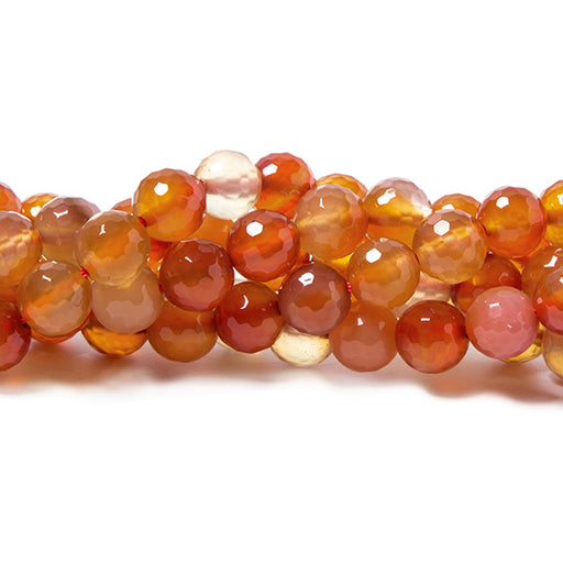 8mm Carnelian Agate faceted round beads 15 inch 50 pieces