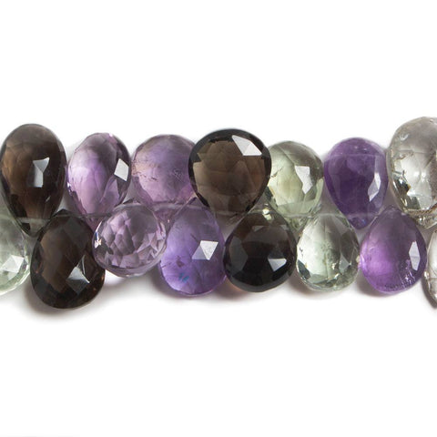 11x9-15x10mm Multi Gemstone Faceted Pear Beads 7.5 inch 44 pieces