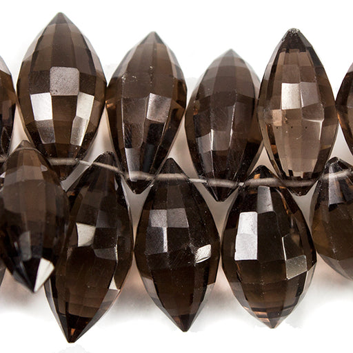 Smoky Quartz Top Drilled Faceted Marquise Beads, 8 inch length, 9x4-17x8mm, 76 pieces