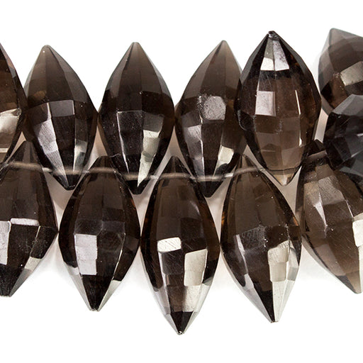 Smoky Quartz Top Drilled Faceted Marquise Beads, 8 inch length, 9x5-14x6mm, 81 pieces