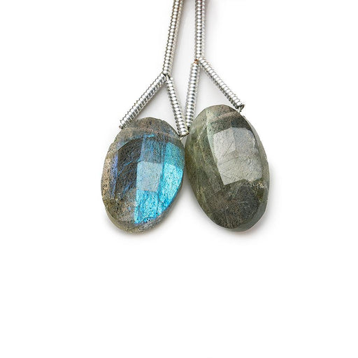 13x10mm average Labradorite faceted oval focal bead sold as Set of 2 pieces