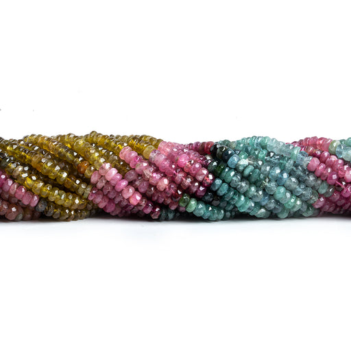 3.5mm Multi Color Tourmaline Native Faceted Rondelle Beads 13.5 inch 175 pieces