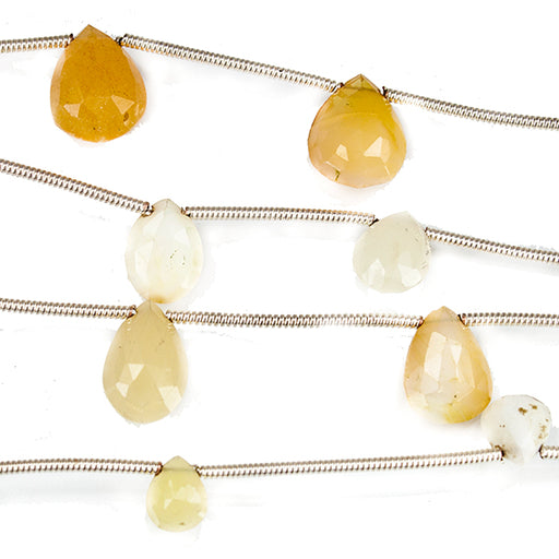 11mm Yellow Opal Faceted Pear and Heart Beads 6 inches 7 beads