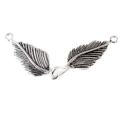 Antiqued Sterling Silver plated Copper Double Leaf Clasp 1 piece