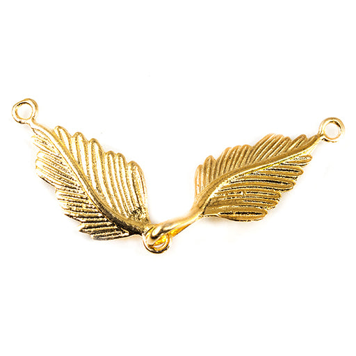 22kt Gold plated Copper Double Leaf Clasp 1 piece