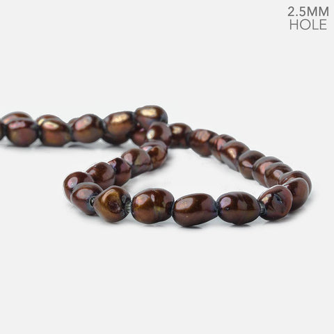 10x8-11x8mm Chocolate Brown 2.5mm Large hole Pearls 34 pcs 15 inch