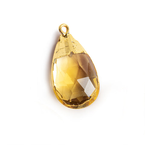 21.5x15mm-26x15mm Gold Leafed Citrine Faceted Pear Focal Pendant 1 piece