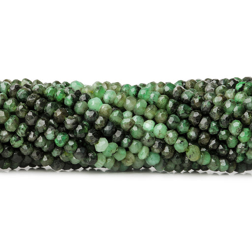 3.5mm Shaded Brazilian Emerald faceted rondelle beads 13 inch 143 pieces