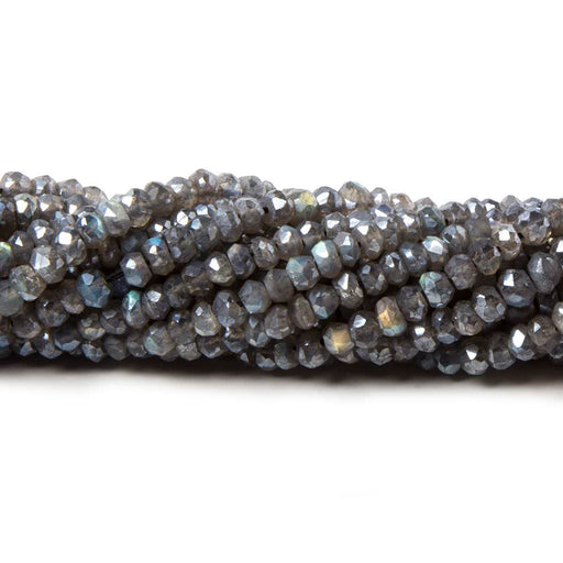 4mm Mystic Labradorite faceted rondelle beads 13 inch 140 pieces