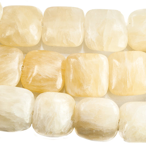 10mm Yellow Jade Plain Square Beads 15 inches 40 beads