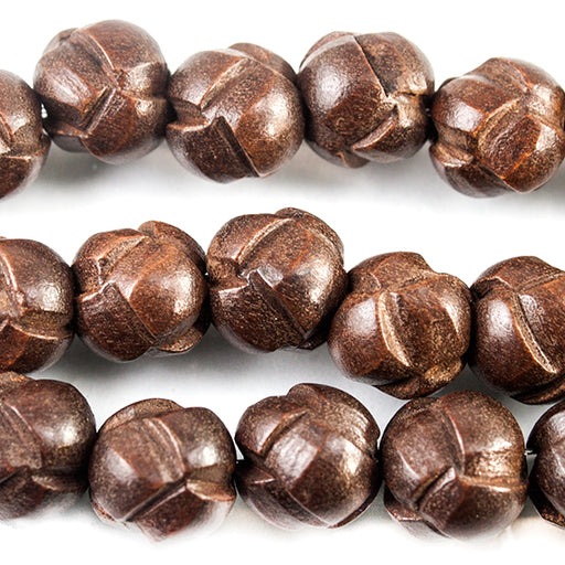 9mm Brown Woven Round Faux Leather Beads 15 inch 40 pieces