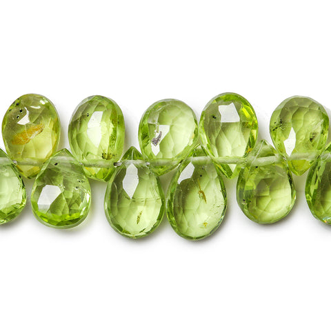 "Peridot Faceted Pear Briolette Beads, 8"" length, 8x4x3-5x4x3mm, 81 pcs"