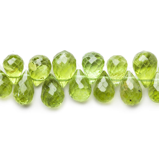 4x3-8x6mm Peridot faceted tear drop briolette beads 10.5 inch 90 pieces