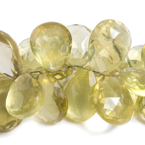 Lemon Quartz Faceted Pear Beads 8 inch 42 pieces