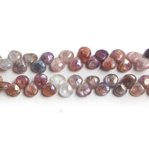 5x5mm Mystic Multi Spinel plain heart beads 8 inch 65 pieces