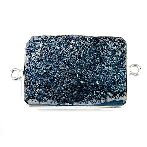 18x25mm Silver Bezeled Dark Blue Drusy Rectangle Connector Focal 1 bead