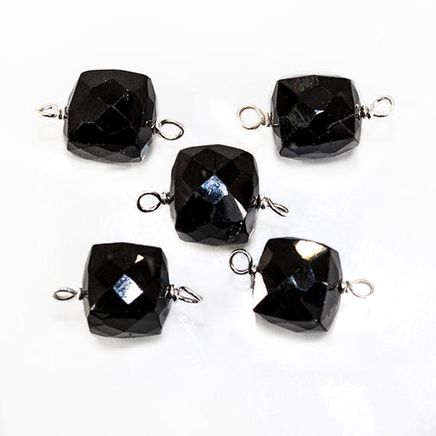 13x8mm Silver Wire Wrapped Black Spinel faceted cube Pendant 1 piece