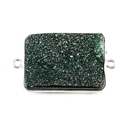 18x25mm Silver Bezeled Green Drusy Rectangle Connector Focal 1 bead