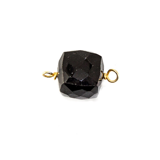 13x8mm Gold Wire Wrapped Black Spinel faceted cube Pendant 1 piece
