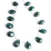 11-14mm Indicolite Tourmaline faceted pear beads 8 inch 12 beads