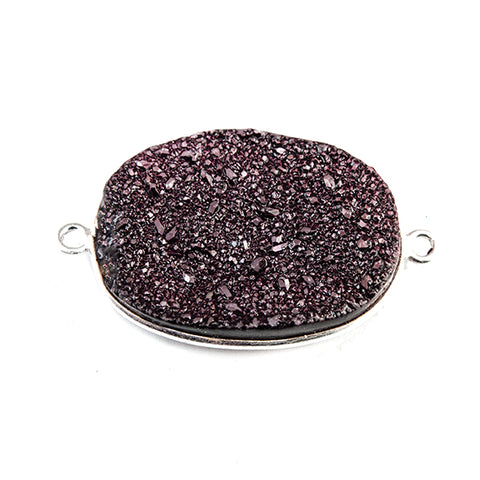 18x25mm Silver Bezeled Berry Purple Drusy Oval Connector Focal 1 bead