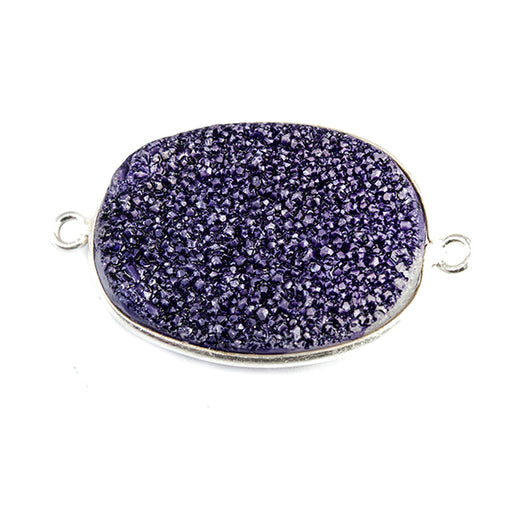 18x25mm Silver Bezeled Grape Purple Drusy Oval Connector Focal 1 bead