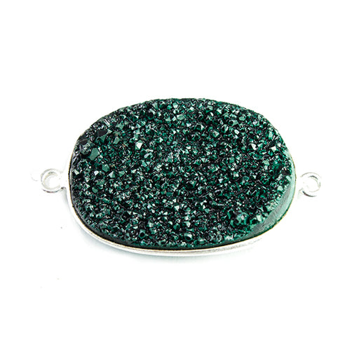 18x25mm Silver Bezeled Green Drusy Oval Connector Focal 1 bead