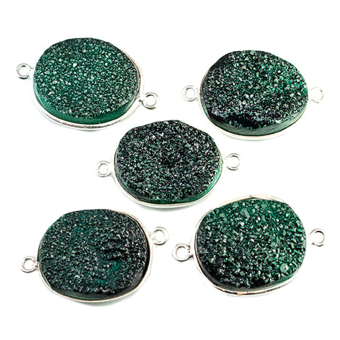15x18mm Silver Bezeled Green Drusy Oval Connector Focal Bead 1 bead