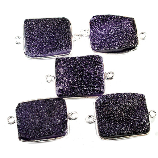15x18mm Silver Bezeled Grape Purple Drusy Rectangle Connector Focal 1 bead