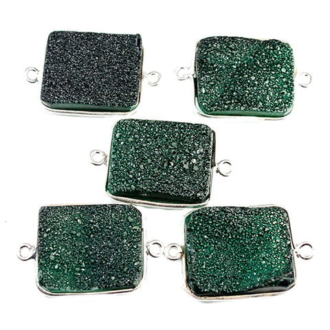 15x18mm Silver Bezeled Green Drusy Rectangle Connector Focal Bead 1 bead
