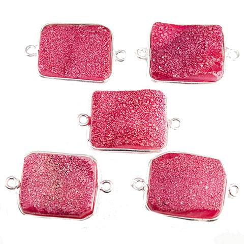 15x18mm Silver Bezeled Pink Drusy Rectangle Connector Focal Bead 1 bead