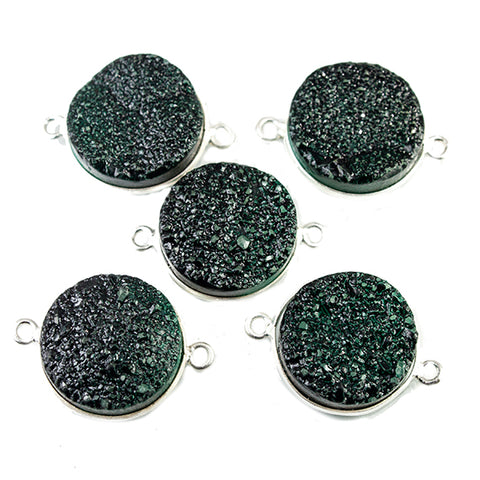15mm Silver Bezeled Green Drusy Coin Connector Focal Bead 1 bead