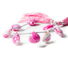12x11-16x15mm Pink & White Crackled Agate Faceted Heart 6.5 inch 6 Beads
