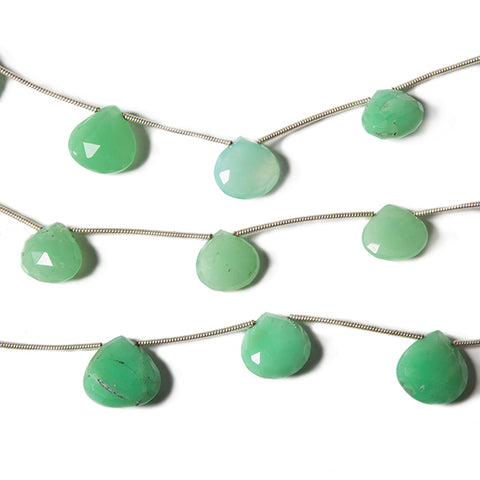 8x8- 12x12mm Chrysoprase Faceted Heart 6 inches 6 Beads
