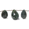 10x7-16x12mm Indicolite Tourmaline faceted pear beads 8 inch 11 beads
