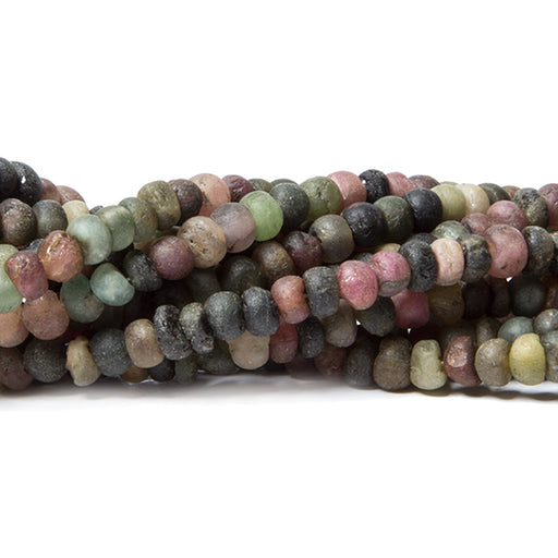 4mm Frosted Multi Color Tourmaline plain rondelles 13 inch 125 beads