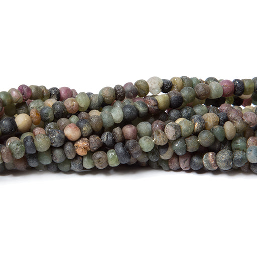 3mm Frosted Multi Color Tourmaline plain rondelles 13 inch 140 beads