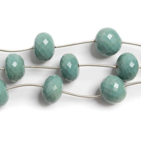 12-13.5mm Mint Green Agate faceted rondelle beads 6 pieces