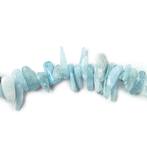 9-19mm Aquamarine top drilled elongated plain nugget 15 inches 100 Beads
