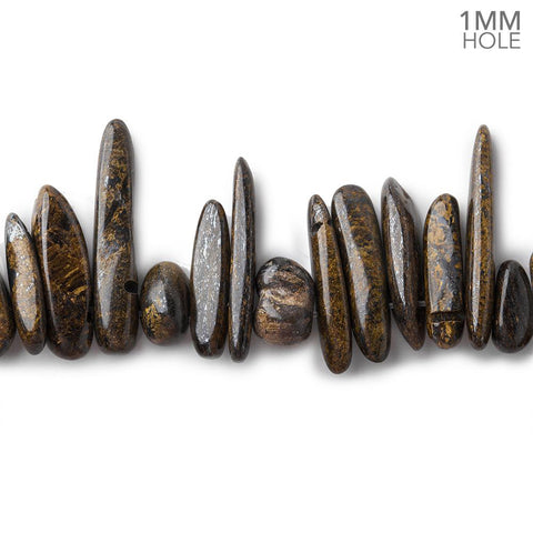 8-28mm Bronzite top drilled elongated plain nugget 15 inches 100 Beads