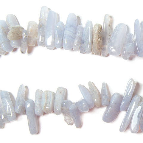 11-22mm Blue Lace Agate top drilled elongated plain nugget 15 inch 75 Beads