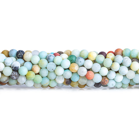 4mm Frosted Amazonite plain round beads 15 inch 89 pieces