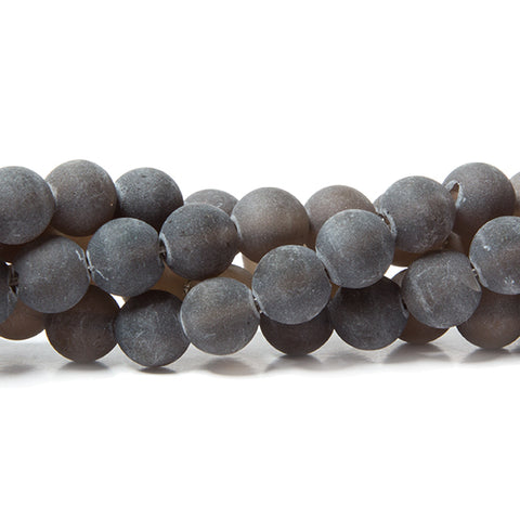 8mm Frosted Smoky Quartz plain round beads 15 inch 49 pieces