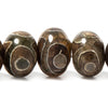 14mm Tibetan SeaGreen & Khaki Grey Agate Large Hole plain rondelle 31 Beads