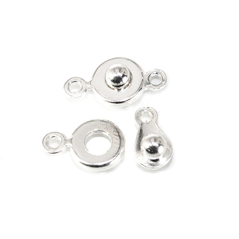 10x6mm Silvertone Button Snap Clasp 4 piece