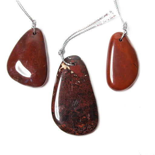 42x28mm Red Jasper Plain Focal Pendant Bead 1 piece